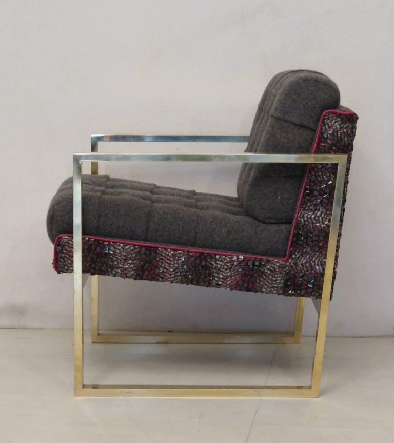 Pair of Midcentury Brass and Fabric Italian Armchairs, 1950 For Sale 5
