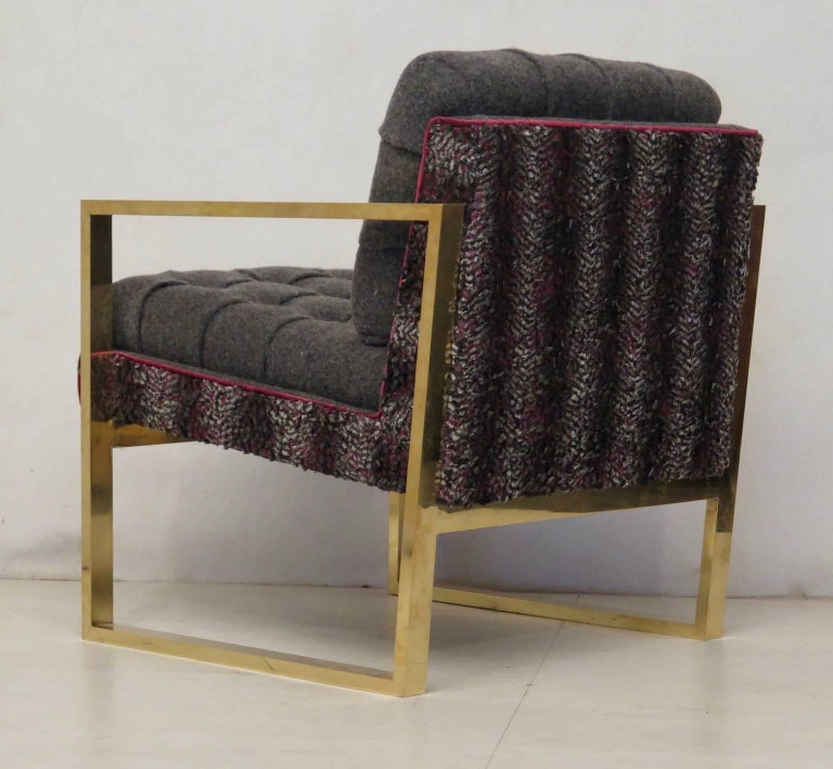 Mid-20th Century Pair of Midcentury Brass and Fabric Italian Armchairs, 1950 For Sale