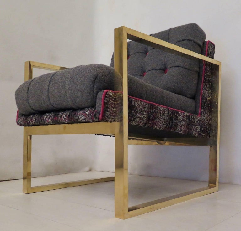 Pair of Midcentury Brass and Fabric Italian Armchairs, 1950 For Sale 1