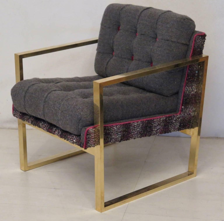 Pair of Midcentury Brass and Fabric Italian Armchairs, 1950 For Sale 2