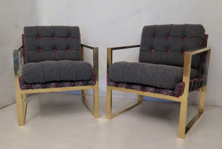 Pair of Midcentury Brass and Fabric Italian Armchairs, 1950 For Sale 3