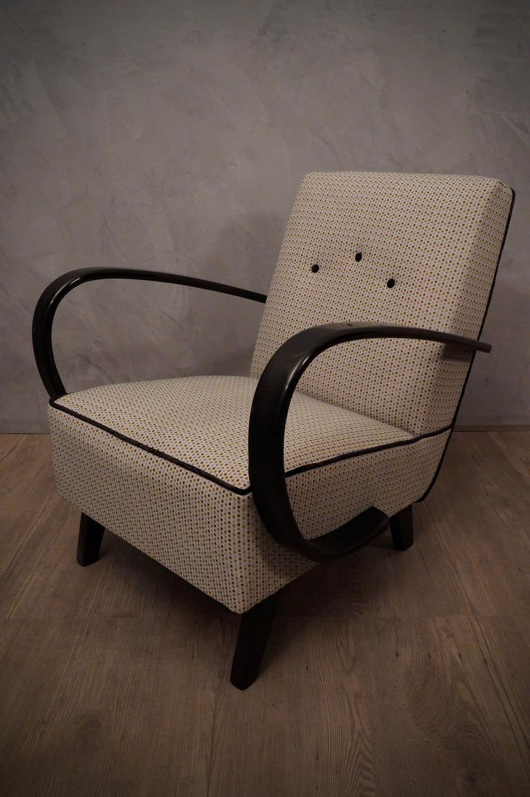Mid-Century Modern Pairs of Midcentury Beech and Fabric Armchairs, 1950 For Sale