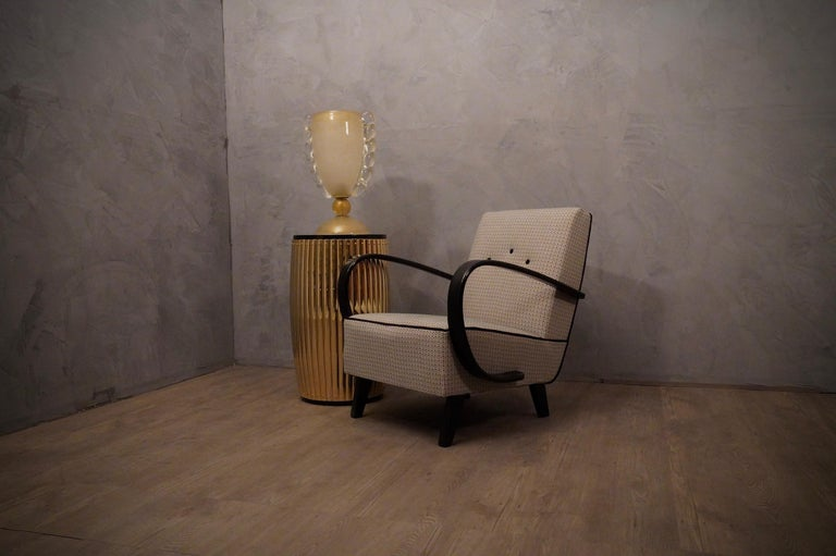 Pairs of Midcentury Beech and Fabric Armchairs, 1950 In Excellent Condition For Sale In Rome, IT