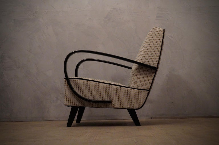 Mid-20th Century Pairs of Midcentury Beech and Fabric Armchairs, 1950 For Sale