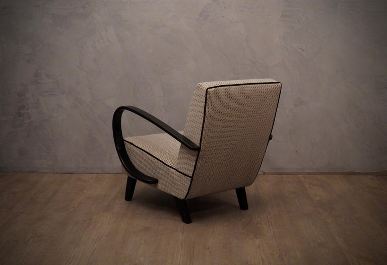 Pairs of Midcentury Beech and Fabric Armchairs, 1950 For Sale 1
