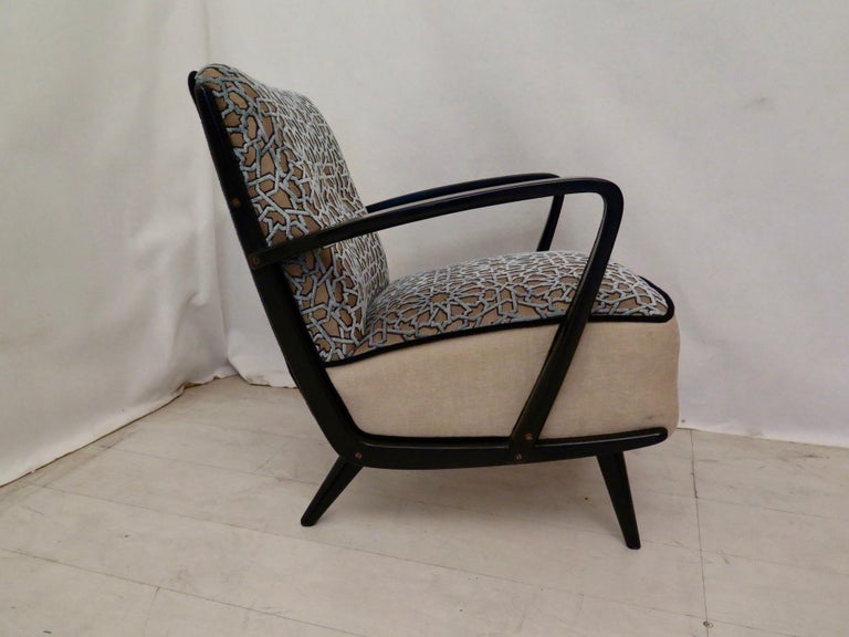Pairs of Midcentury Combined Velvet and Beech Wood Italian Armchairs, 1950 For Sale 6