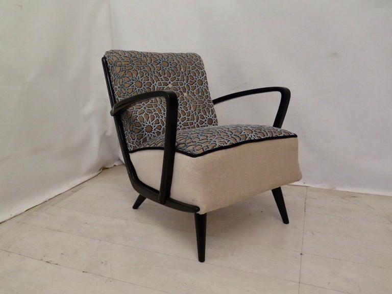 Pairs of Midcentury Combined Velvet and Beech Wood Italian Armchairs, 1950 For Sale 8