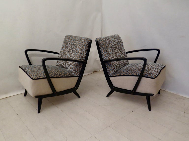 Pairs of Midcentury Combined Velvet and Beech Wood Italian Armchairs, 1950 For Sale 9