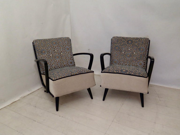 Pairs of Midcentury Combined Velvet and Beech Wood Italian Armchairs, 1950 For Sale 11