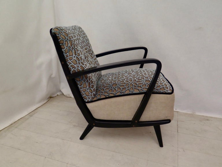 Pairs of Midcentury Combined Velvet and Beech Wood Italian Armchairs, 1950 For Sale 12