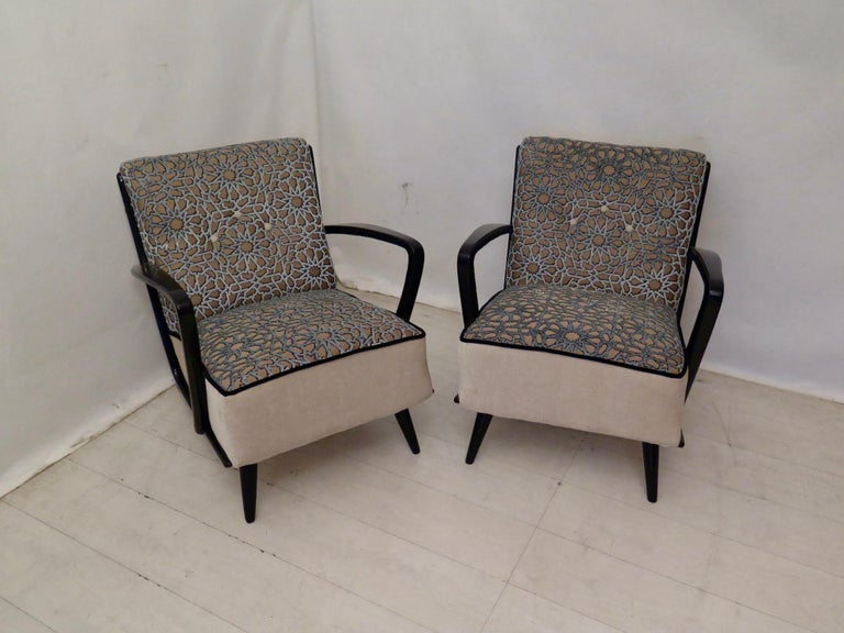 Mid-20th Century Pairs of Midcentury Combined Velvet and Beech Wood Italian Armchairs, 1950 For Sale