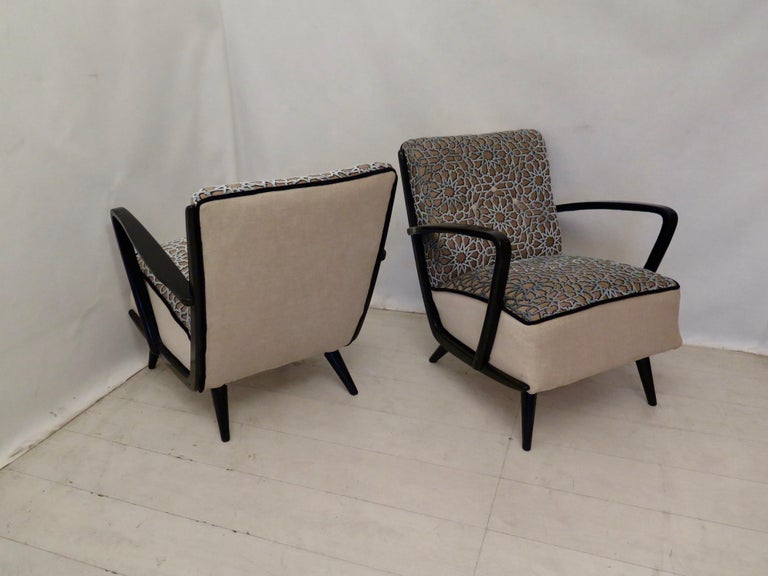 Pairs of Midcentury Combined Velvet and Beech Wood Italian Armchairs, 1950 For Sale 5
