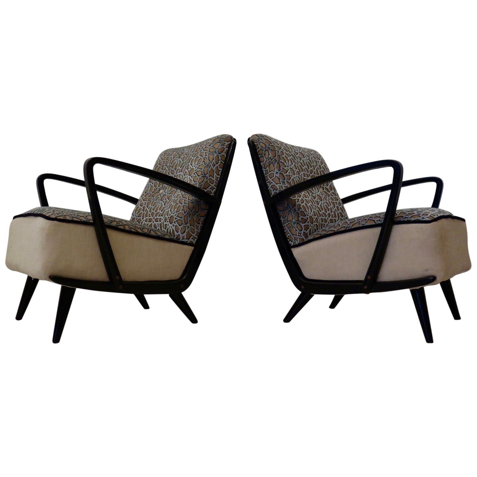 Pairs of Midcentury Combined Velvet and Beech Wood Italian Armchairs, 1950