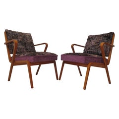 Pairs of midcentury Curved Wood Italian Armchairs, 1950