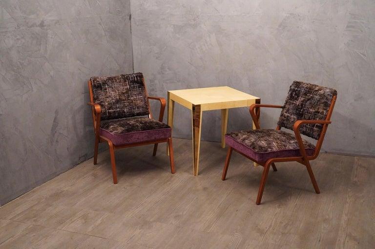 Mid-20th Century Pairs of Midcentury Violet Velvet Italian Armchairs, 1950 For Sale