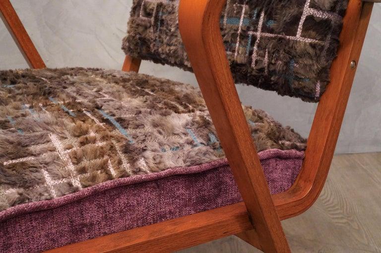 Pairs of Midcentury Violet Velvet Italian Armchairs, 1950 For Sale 4