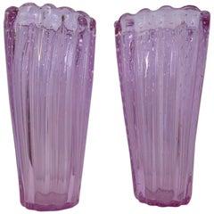 Pairs of Murano Midcentury Violet Art Glass Italian Vases, 1950