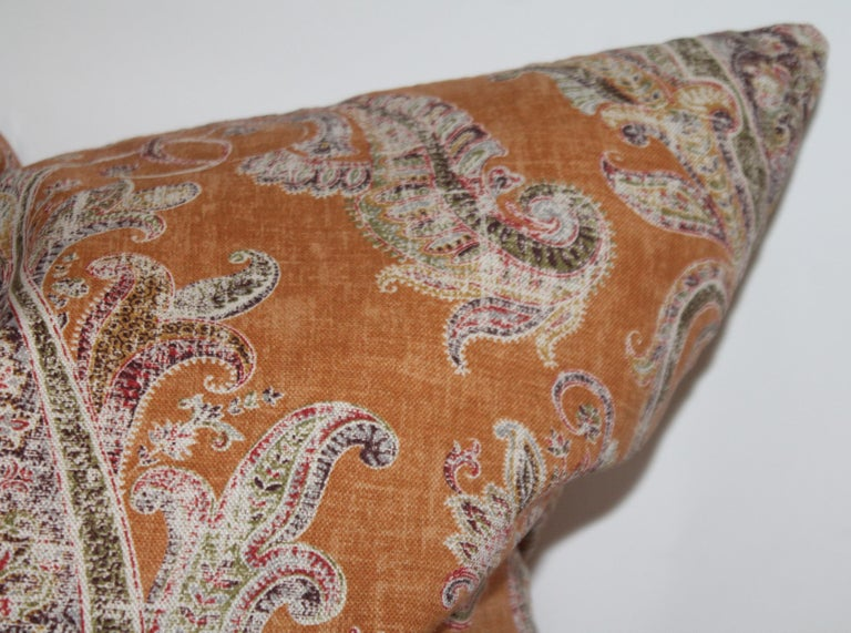 American Paisley Cotton Linen Printed Pillows, Pair