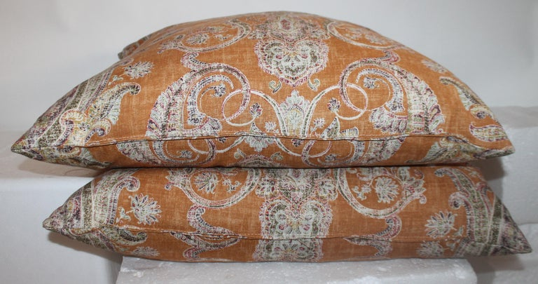 Hand-Crafted Paisley Cotton Linen Printed Pillows, Pair