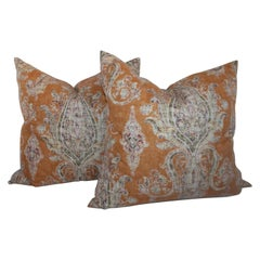Paisley Cotton Linen Printed Pillows, Pair