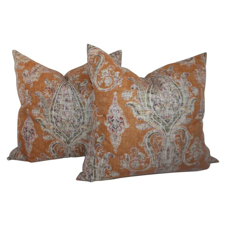 Paisley Cotton Linen Printed Pillows, Pair