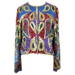 Paisley Design Multi Color Sequin and Bead Silk Evening Jacket, 1990s