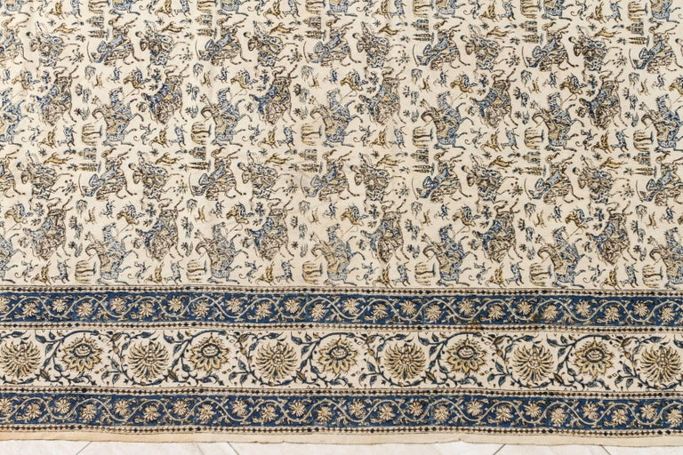 Hand-Painted Paisley Kalamkari Textile from India For Sale