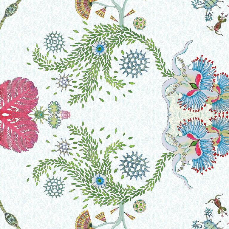 English Paisley Paramecium Wallpaper in Aqua For Sale