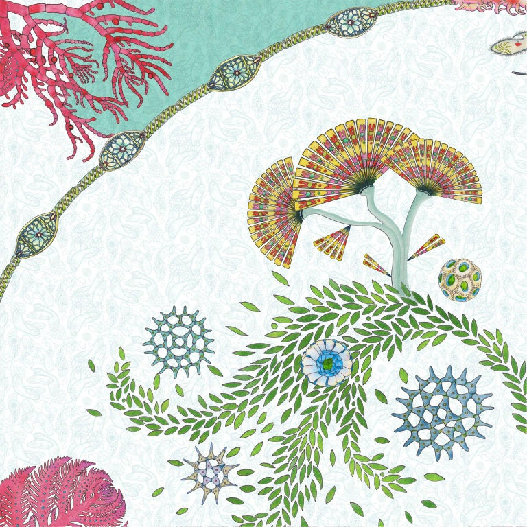 Paisley Paramecium Wallpaper in Aqua In New Condition For Sale In Kent, GB