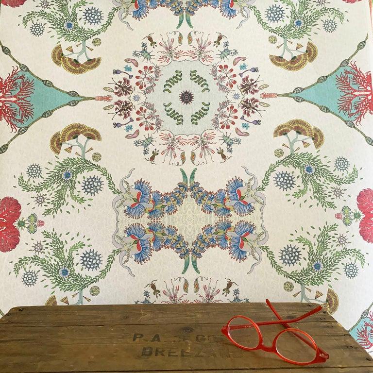 Paper Paisley Paramecium Wallpaper in Aqua For Sale
