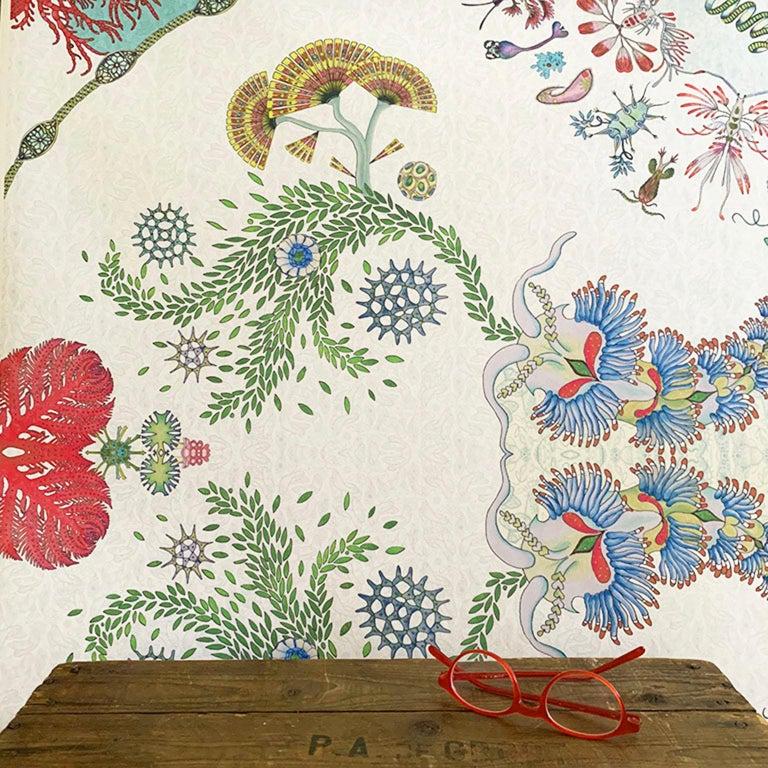 Paisley Paramecium Wallpaper in Aqua For Sale 1