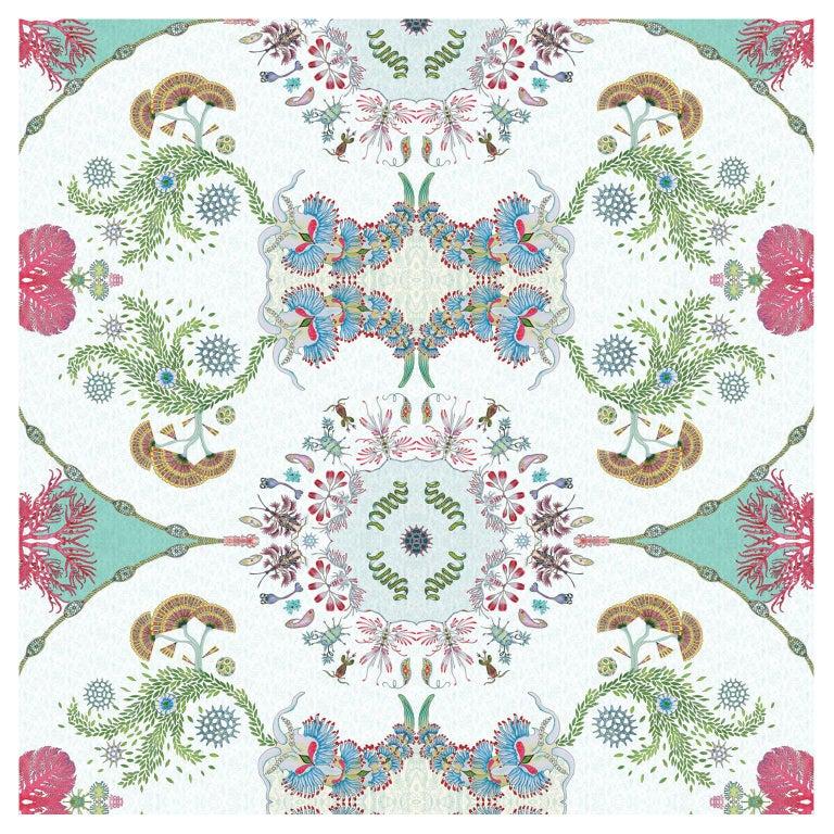 Paisley Paramecium Wallpaper in Aqua For Sale