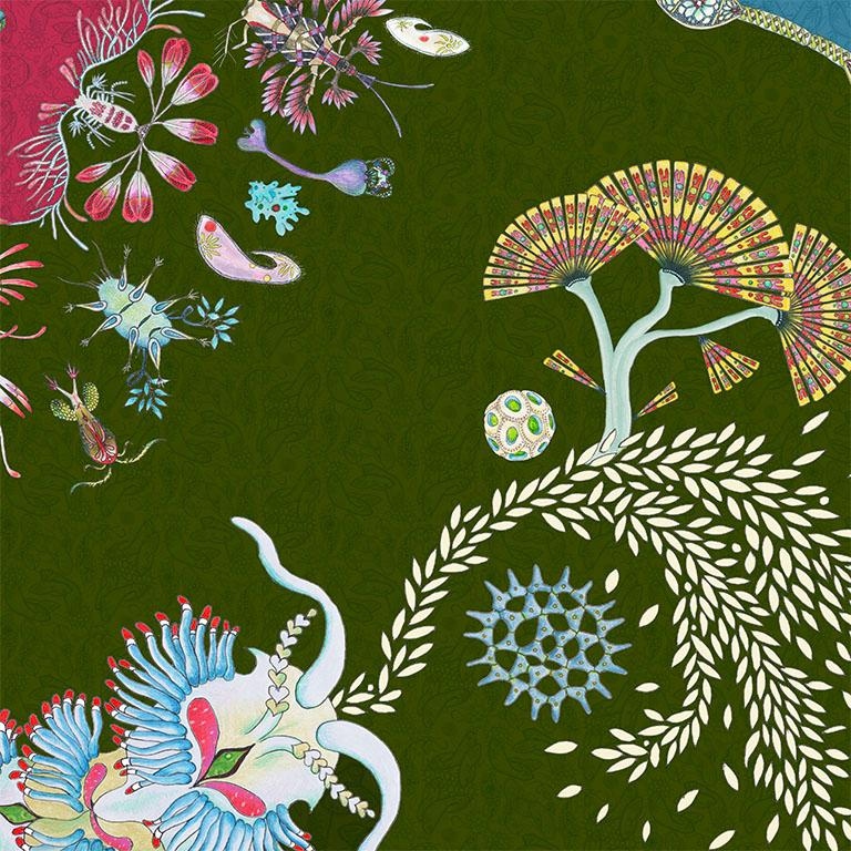 Paisley Paramecium is a playful design celebrating the micro-organisms that form the base of the pyramid of all life. The inspiration for this design was a play on the traditional tear-drop shape of the paisley motif resembling a unicellular