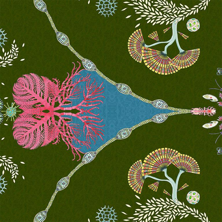English Paisley Paramecium Wallpaper in Olive For Sale