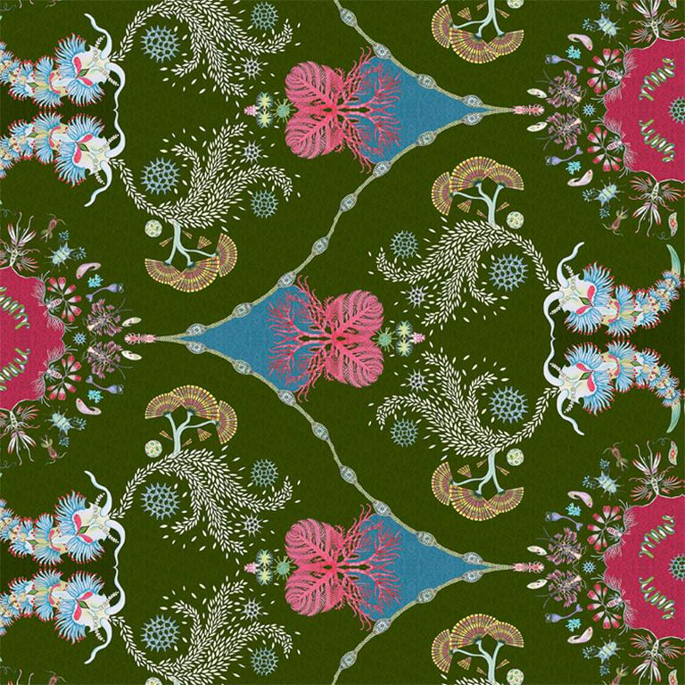 Other Paisley Paramecium Wallpaper in Olive For Sale