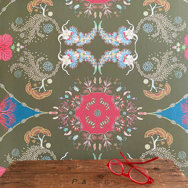 Contemporary Paisley Paramecium Wallpaper in Olive For Sale