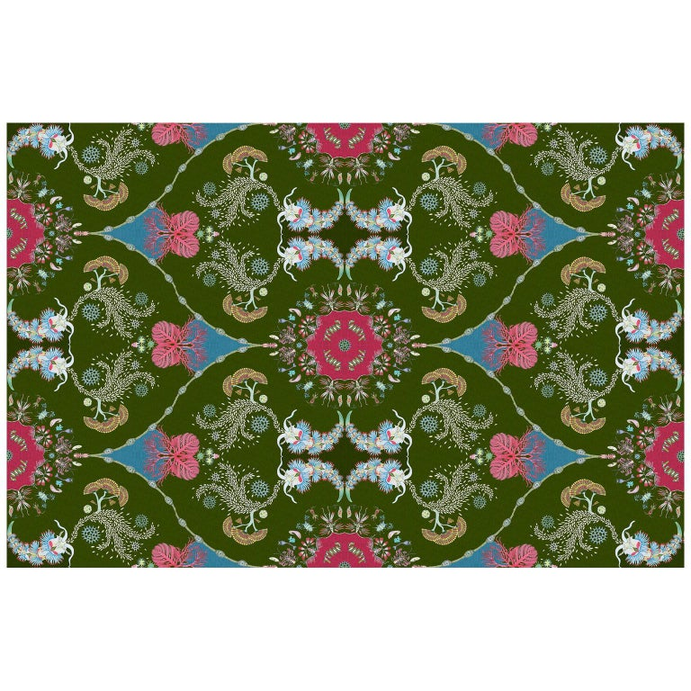 Paisley Paramecium Wallpaper in Olive For Sale