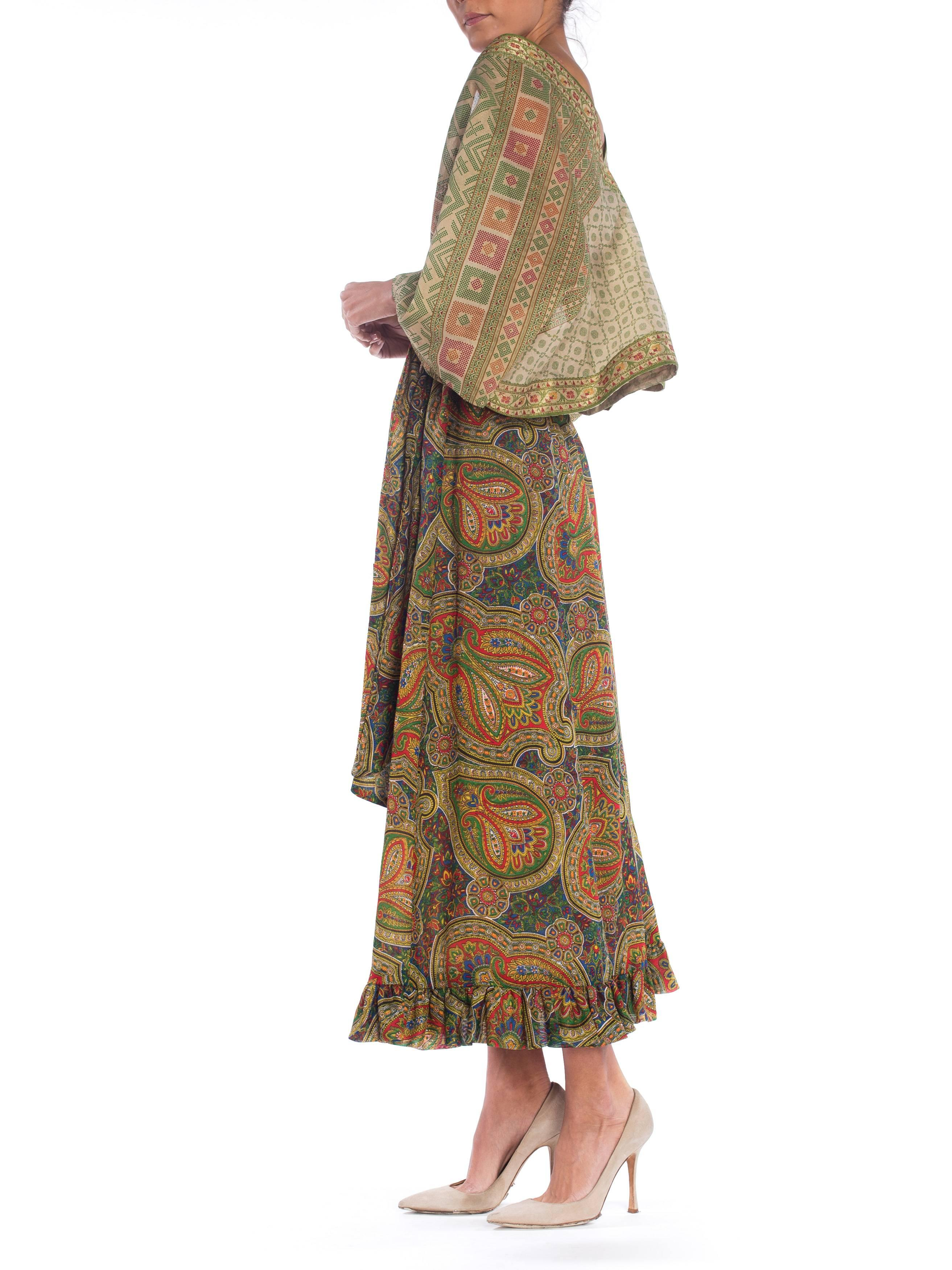 e721859453 Paisley Print Wrap Dress with Antique Indian Sari Top For Sale at 1stdibs