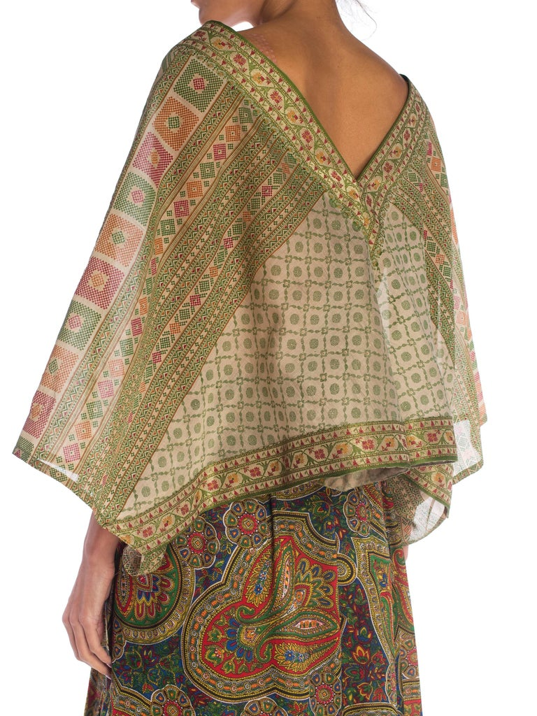 0c42231a6d Paisley Print Wrap Dress with Antique Indian Sari Top For Sale at ...