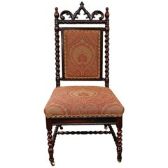 Paisley Upholstered Gothic Revival Walnut Side Chair on Casters