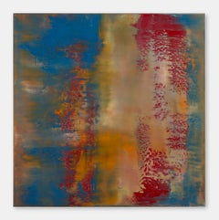 Bliss - Contemporary, Abstract Painting, Blue, Orange, Red, Encaustic