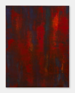 Breaking the waves - Contemporary, Red, Abstract Painting, Encaustic, Oil Paint