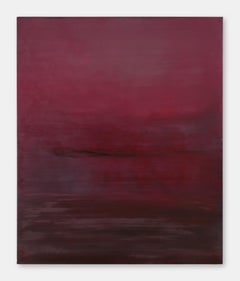 Crimson Sunset - 21st Century, Abstract Painting, Encaustic, Deep Red, Peaceful