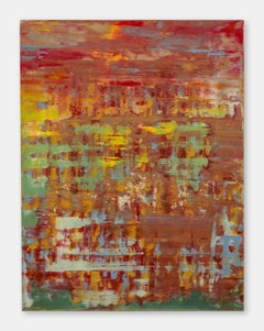 Touch me! - Contemporary, Abstract Painting, Red, Orange, Encaustic