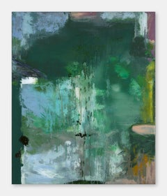 Twilight - Contemporary, Green, Abstract Painting, Fluid, Acrylic on Glass