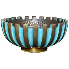 Pal-Bell Turquoise & Gold Bowl Hand Hammered Cast Bronze Maurice Ascalon Israel