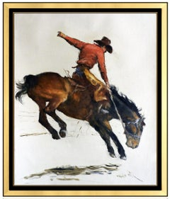 Pal Fried Large Oil Painting On Canvas Signed Western Cowboy Horse Rodeo Framed