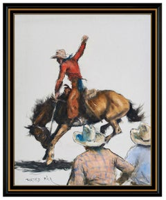 Pal Fried Large Original Oil Painting On Canvas Signed Western Horseback Cowboy