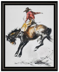 Pal Fried Large Original Painting On Canvas Signed Western Horse Cowboy Bronco