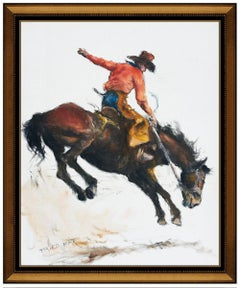 Pal Fried Original Oil Painting On Canvas Signed Western Horse Cowboy Bronco Art